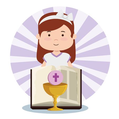 girl and chalice with holy host and bibble to first communion vector illustration