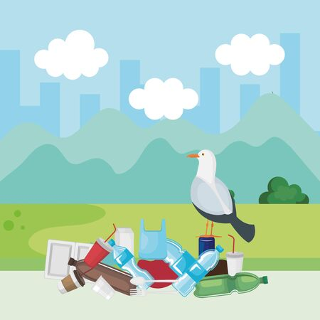 dove bird in the toxic plastics contamination vector illustration