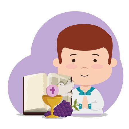 boy with chalice and bibble to first communion vector illustration Stock Illustratie