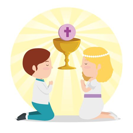 boy and girl with chalice to first communion vector illustration Illustration