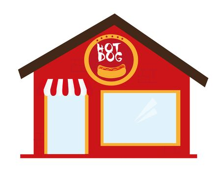 hot dog restaurant cartoon isolated over white backgroud. vector Banco de Imagens - 124628800