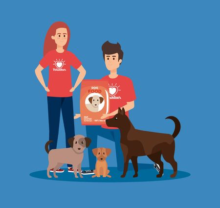 girl and boy volunteers with dogs and food vector illustration