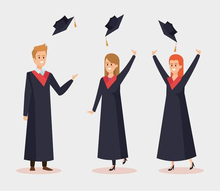 happy women and man university with rope and cap vector illustration