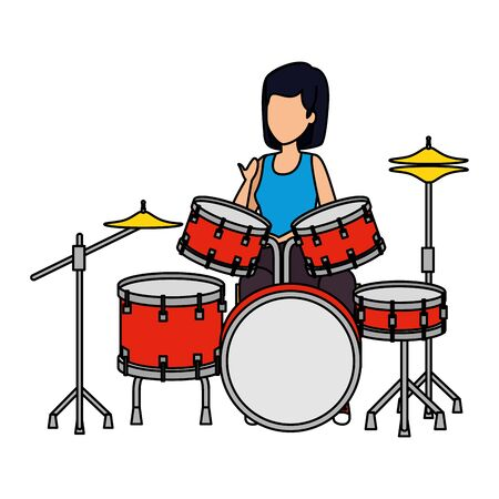 woman playing battery drums vector illustration design Imagens - 124634585