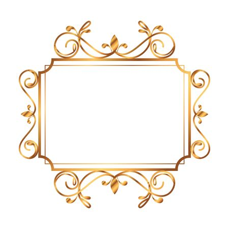 golden square label victorian style vector illustration design