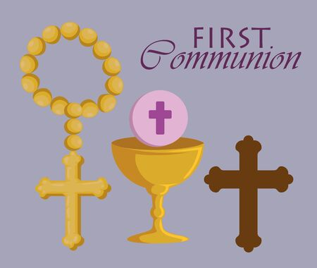 set rosary with chalice and cross to first communion vector illustration