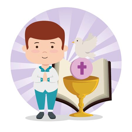 boy with suit and chalice to first communion vector illustration
