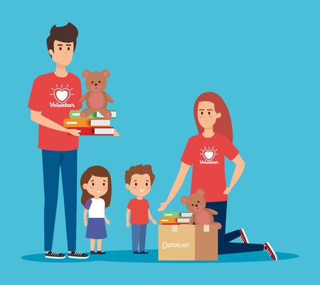 boy and girl voluntair with books and teddy to kids vector illustration