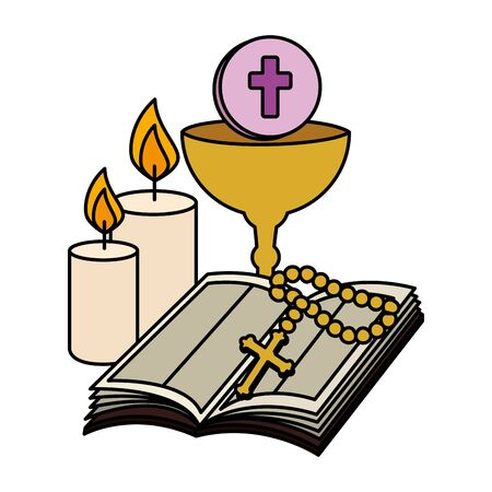 holy bible with chalice and rosary vector illustration design