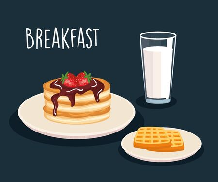 pancakes with starwberries and waffles with milk glass vector illustration
