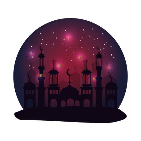 ramadan kareem castle night time scene vector illustration design