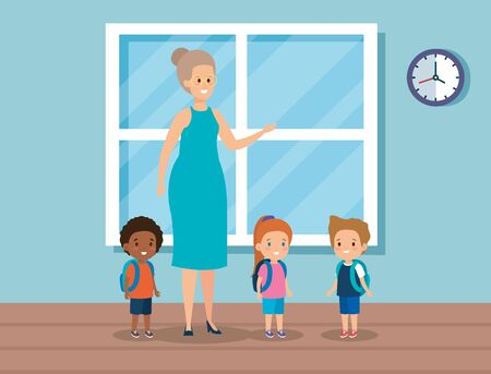 woman teacher with kids in the class and window vector illustration