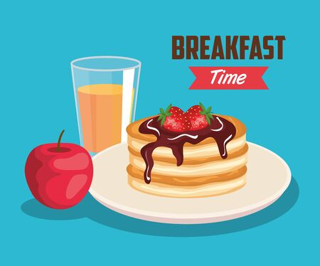 delicious pancakes with apple and orange juice vector illustration