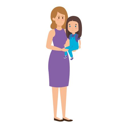 young mother with little daughter vector illustration design Standard-Bild - 124643063