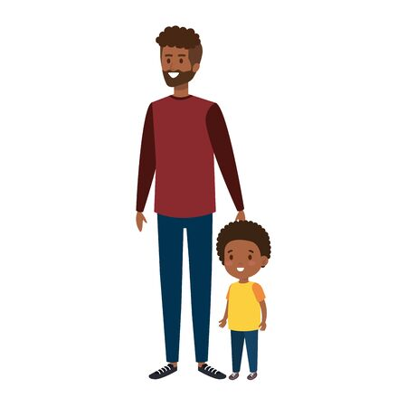 young african father with son characters vector illustration design