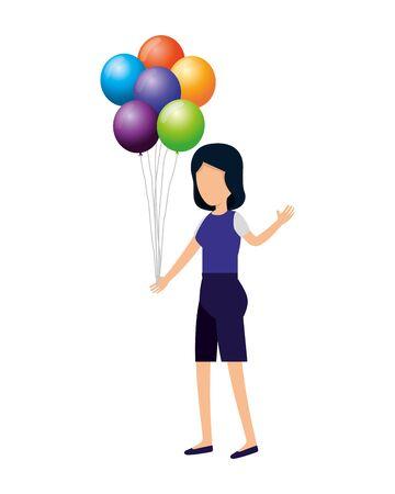 Mujer con globos de helio flotante, diseño de ilustraciones vectoriales