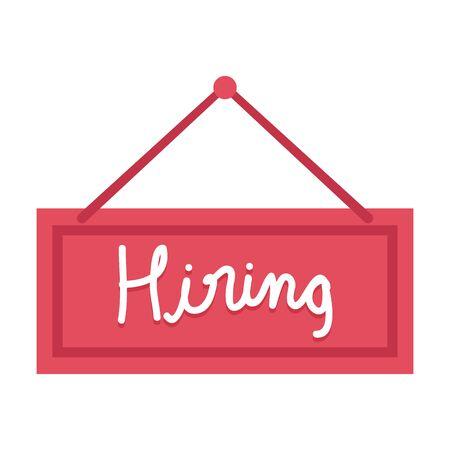 hiring label hanging icon vector illustration design  イラスト・ベクター素材