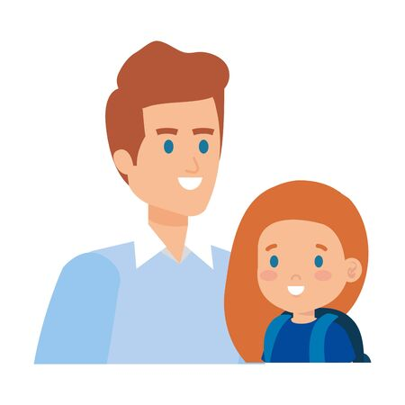 father with daughter characters vector illustration design Ilustração