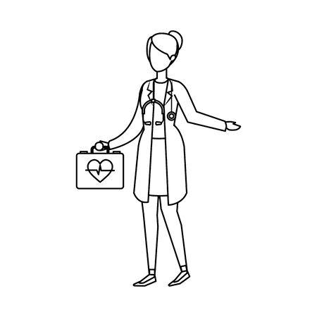 female doctor with stethoscope and medical kit vector illustration design Reklamní fotografie - 124713291