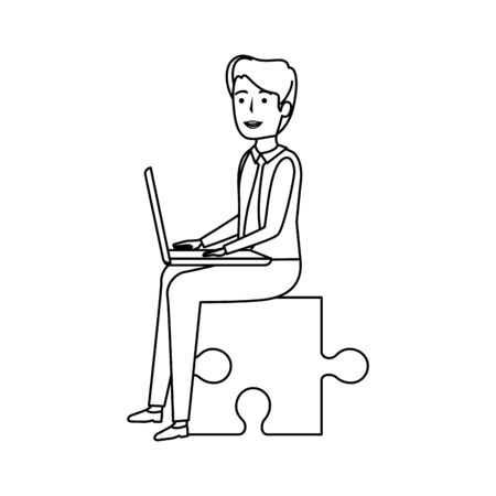 young businessman sitting in puzzle piece vector illustration design