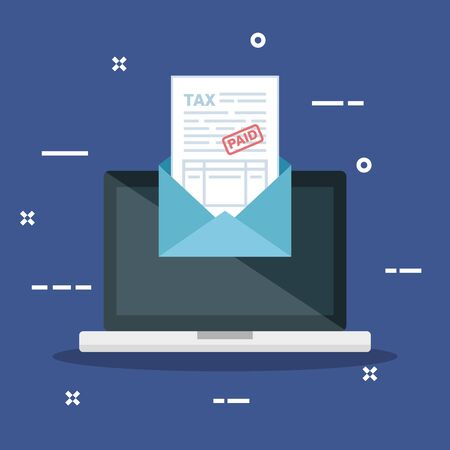 laptop with invoice report document inside card vector illustration Imagens - 124713302