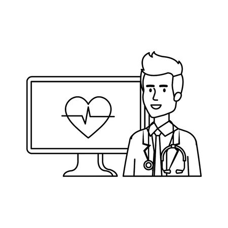 professional doctor with computer telemedicine service vector illustration design Reklamní fotografie - 124709754