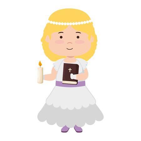 little girl with holy bible first communion character vector illustration design Reklamní fotografie - 124713280