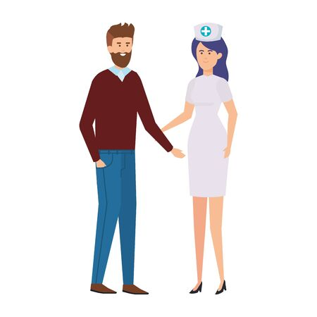 professional female nurse with man vector illustration design