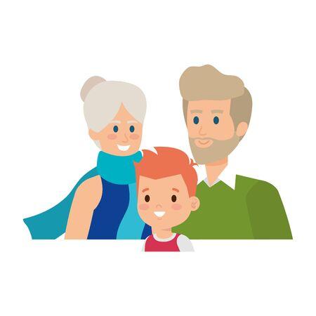 cute grand parents couple with grandson vector illustration design 일러스트