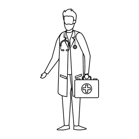 doctor with stethoscope and medical kit vector illustration design Ilustrace