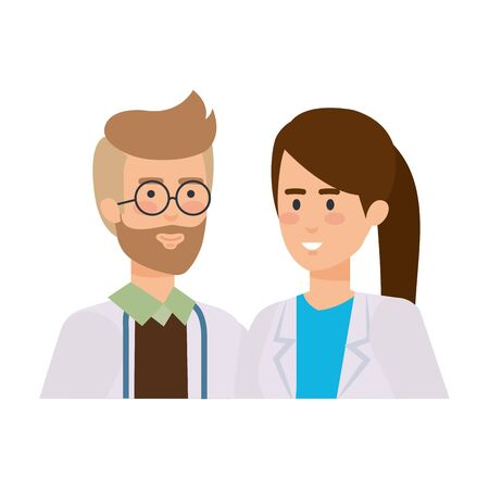 couple of professionals doctors avatars characters vector illustration design Reklamní fotografie - 124722399
