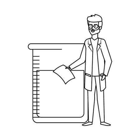 professional doctor with test flask avatar character vector illustration design Reklamní fotografie - 124722320