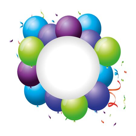 circular frame with balloons helium floating vector illustration design