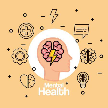 silhouette man head with health brain and thunder vector illustration Stock Illustratie