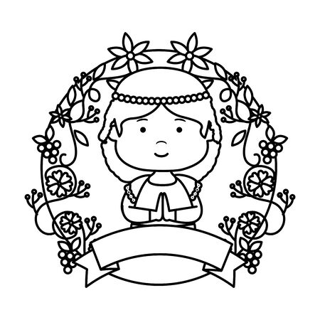 little girl with wreath flowers first communion vector illustration design