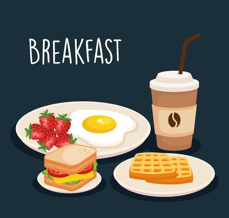delicious fried egg with sandwich and waffles vector illustration