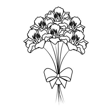 beutiful roses bouquet with bowtie vector illustartion design