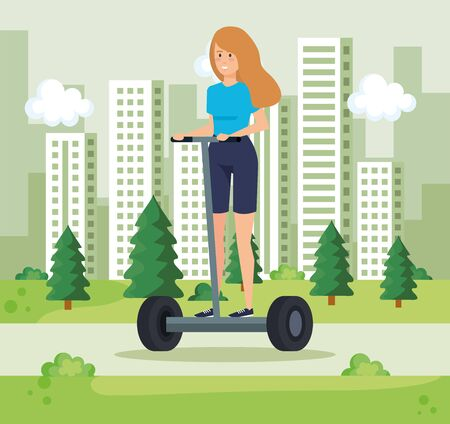 woman riding electric scooter and cityscpae vector illustration