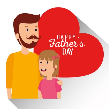 man with his daughter and heart fathers card vector illustration