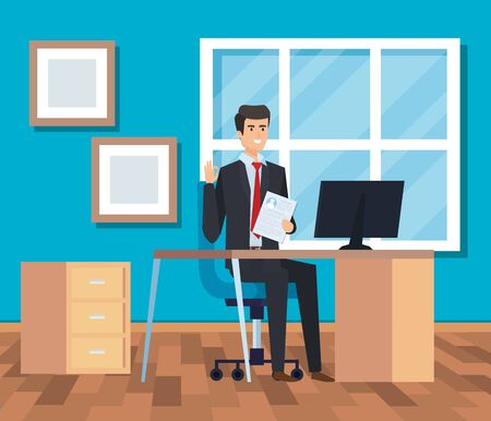 professional businessman with computer in the desk and diplomas vector illustration Reklamní fotografie - 124726594
