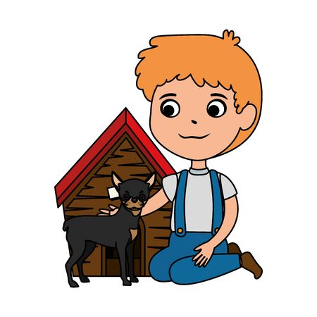 cute little boy with dog and wooden house vector illustration design