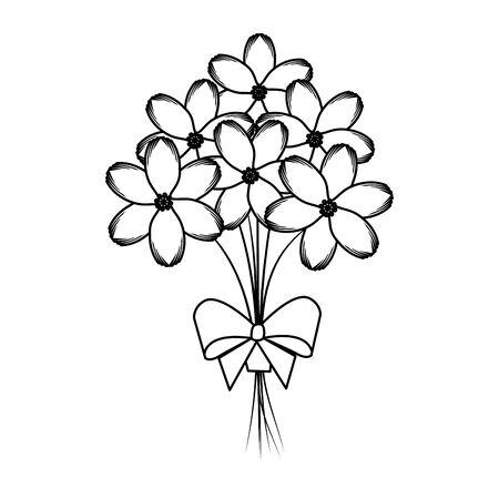 beutiful flowers bouquet with bowtie vector illustartion design Stock Vector - 124726602