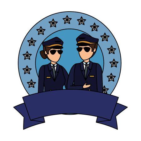 aviation pilots couple avatars characters vector illustration design