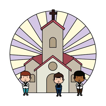 little boys in church first communion characters vector illustration design