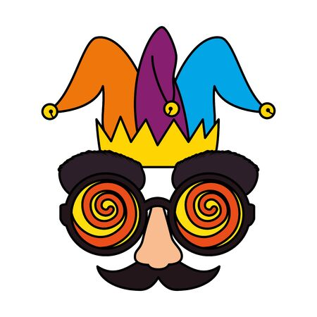 fools day mask glasses and mustache with joker hat vector illustration design  イラスト・ベクター素材