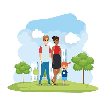 interracial parents couple with daughter characters vector illustration design Stock Vector - 124728119