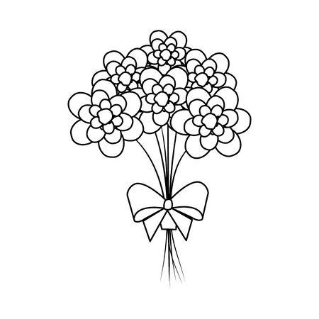 beautiful flowers bouquet with bowtie vector illustartion design