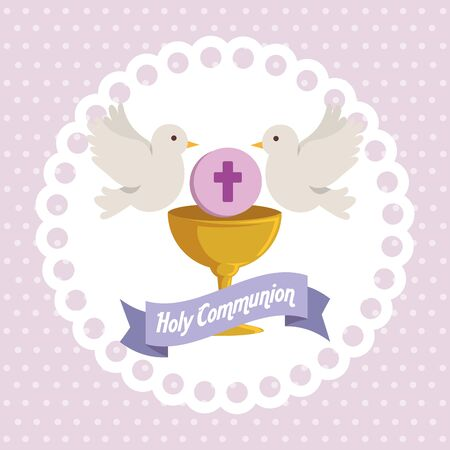 chalice with holy host and doves to religion event vector illustration