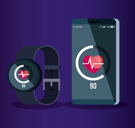 smartphone and smartwatch technology with heartbeat social app vector illustration Çizim