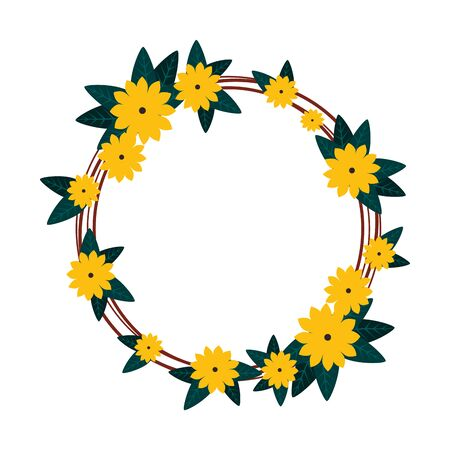 circular floral decoration icon vector illustration design Иллюстрация
